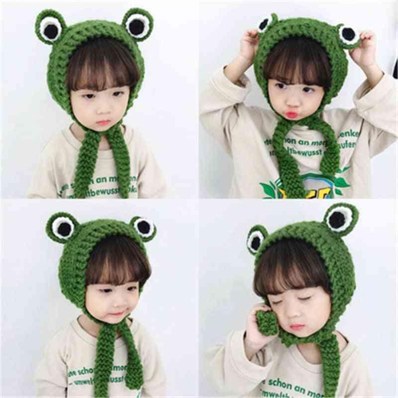 Winter Warm, Cartoon Frog Design- Knitted Earmuffs