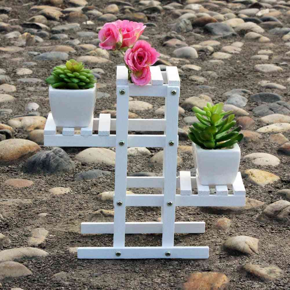 Natural Wood Multi-layer And Fold-able Plant/flower Pot Display Rack