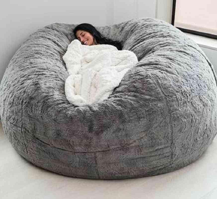Fur Soft Bean Bag Sofa Cover, Big Round Fluffy Faux Cushion Bed