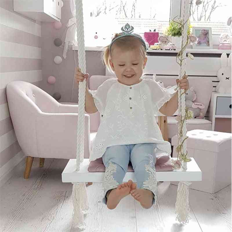 Hanging Swings Set-solid Wood Seat With Cushion