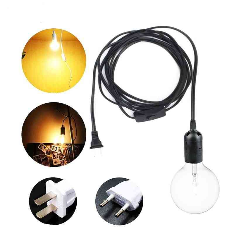 Power Cord Cable Eu/us Plug Hanging Lamp Adapter With Switch Wire For Pendant E27 Socket Hold