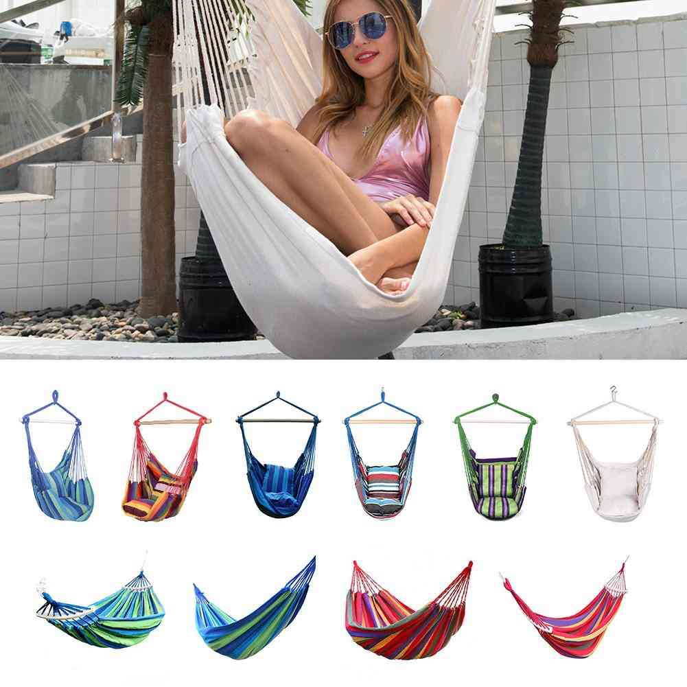 Hanging Hammock-rope Swing Chair Seat With 2 Pillows For Garden