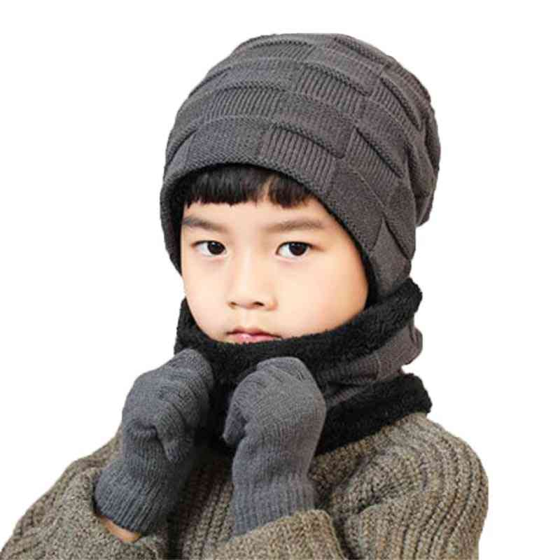 Winter Warm Knitted Plush Hat, Scarf, Gloves Set For Boy's