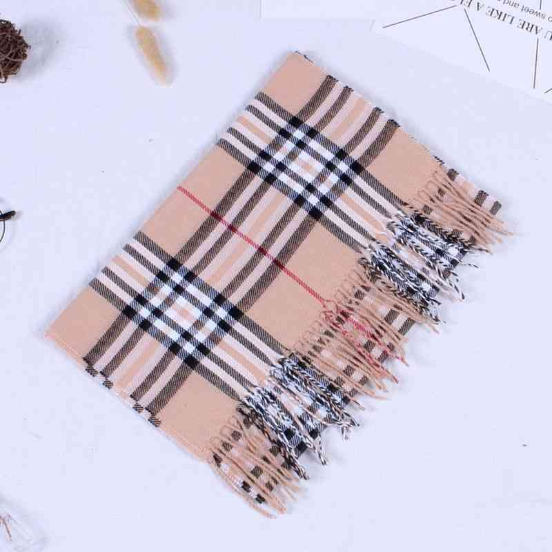 Men's And Cashmere Check Autumn And Winter Long Thick Warm Neckwear
