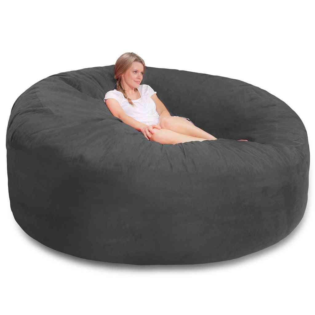 Round Soft- Fluffy Faux, Cushion Giant Soft, Bean Bag, Sofa Cover