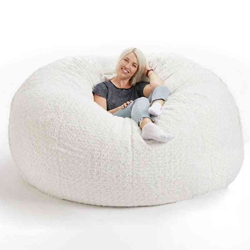 Soft Fluffy- Wool Fur Fleece, Floor Seat Sofa For Living Room
