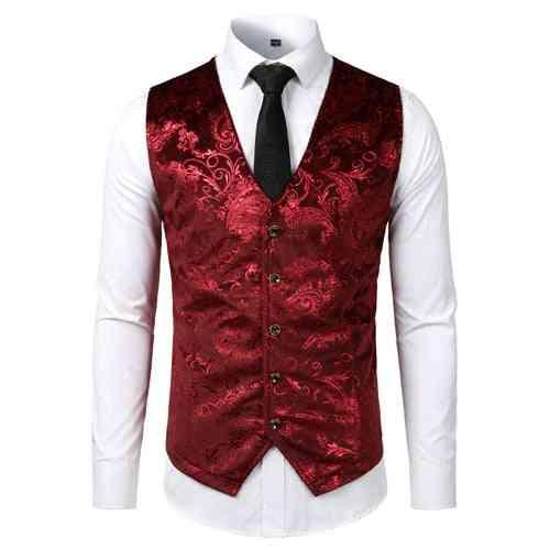 Sleeveless Slim Fit, Floral Dress Vest Waistcoat