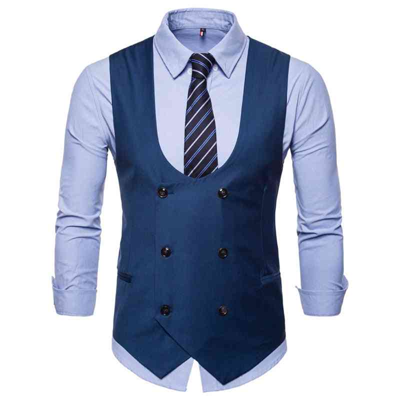 Men's Classic Plaid Waistcoat Suit With Pocket Square