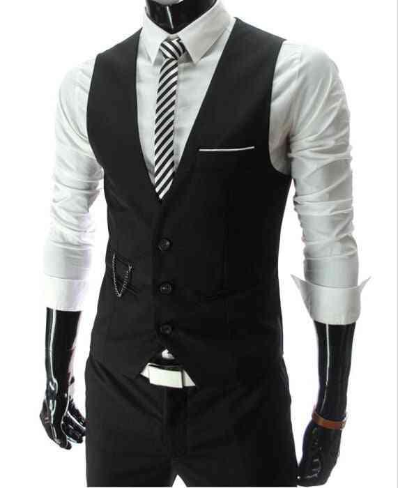 Men Formal Casual, Sleeveless Slim Fit Suit Vest Jacket