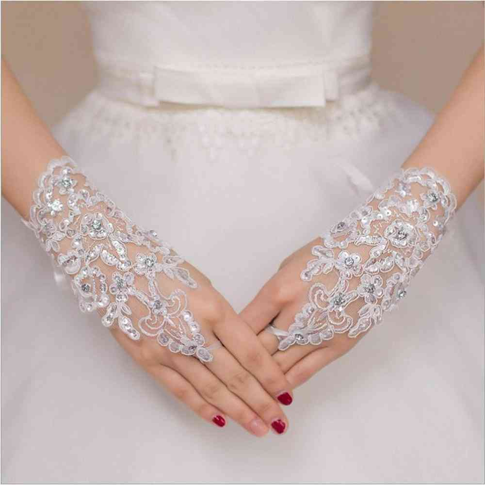 Fingerless Length Lace Appliques White Bridal Wedding Gloves