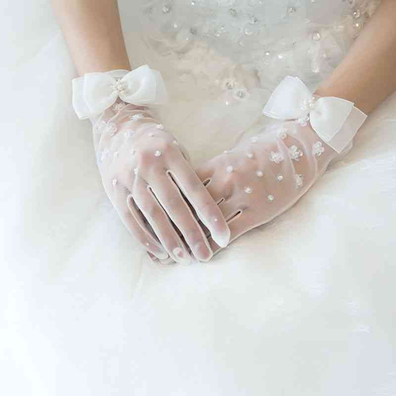 Charm Bridal Gloves Lace With Finger Long Glove