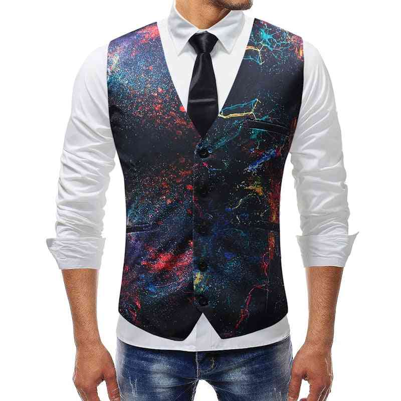 Casual Graffiti Printed, Slim-fit, Sleeveless Formal Waistcoats, Jacket's