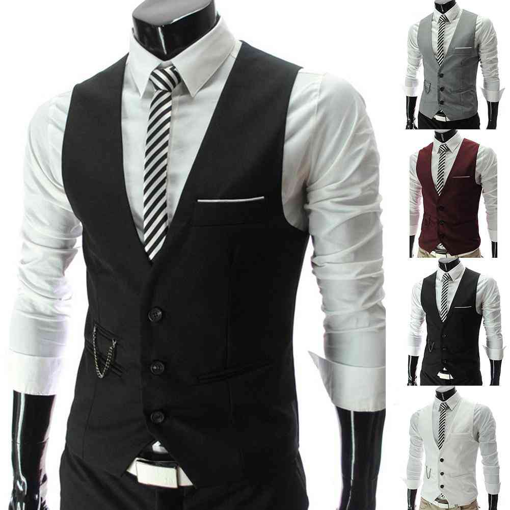 Men Waistcoat, V Neck Sleeveless Plus Size, Formal Business Jacket