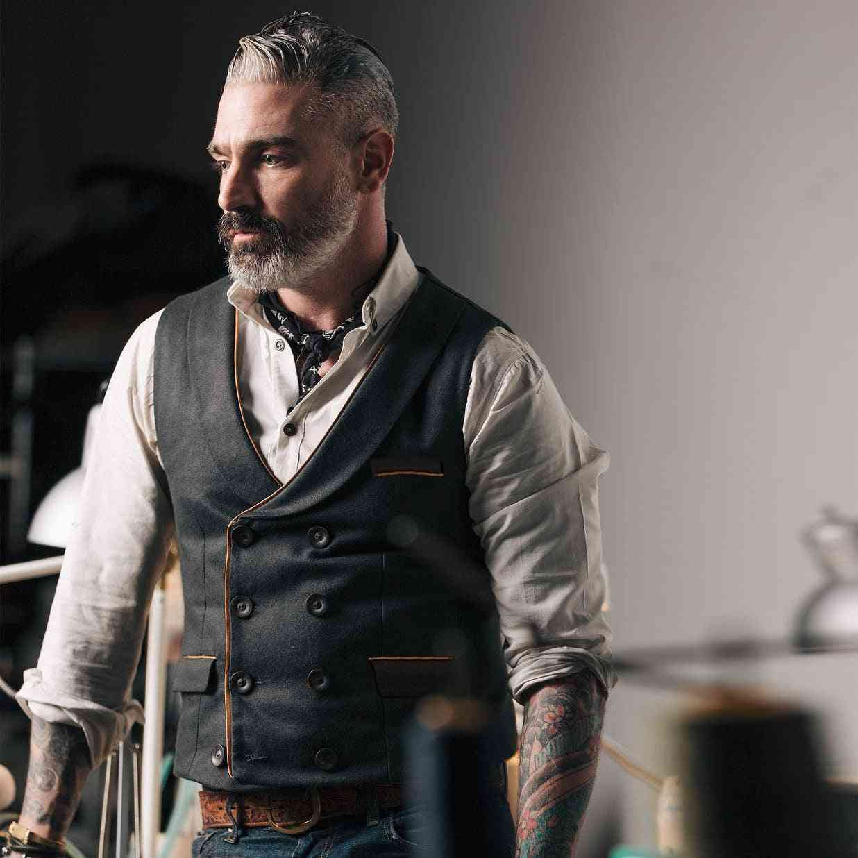 Mens Suit Vest, Casual Sleeveless Waistcoat - Single Breasted Vests