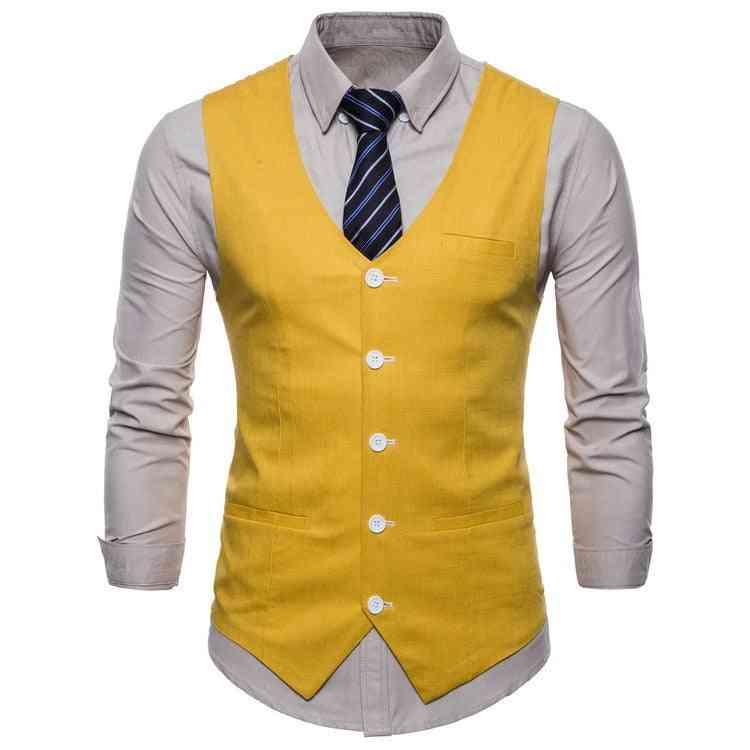 Casual Cotton Linen, Slim Fit, Sleeveless Mens Waistcoat