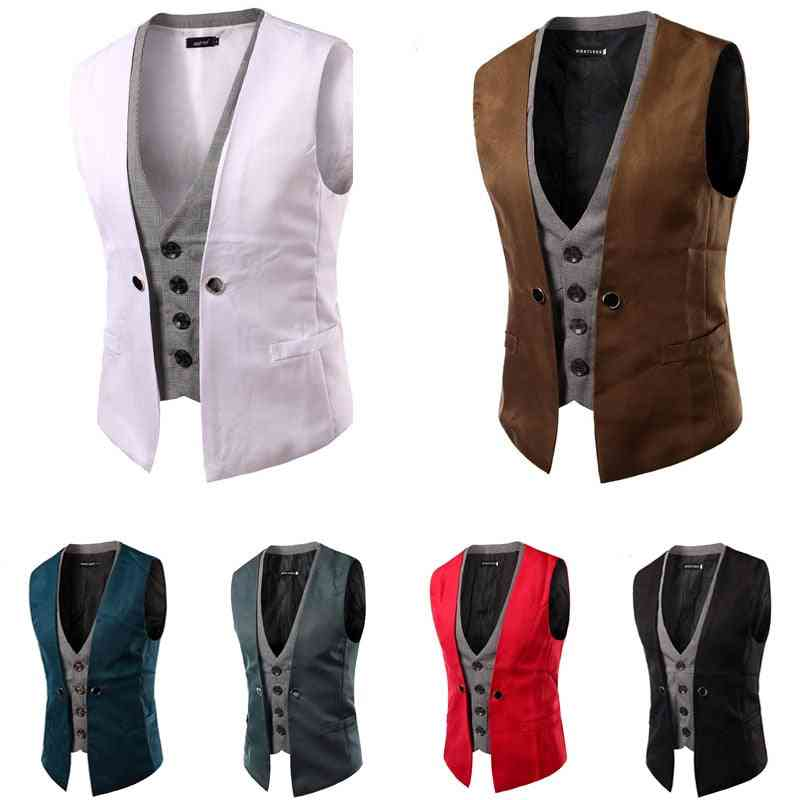 Singlet Breasted Patch, Slim Suit, Two-pieces Sleeveless, Waistcoat