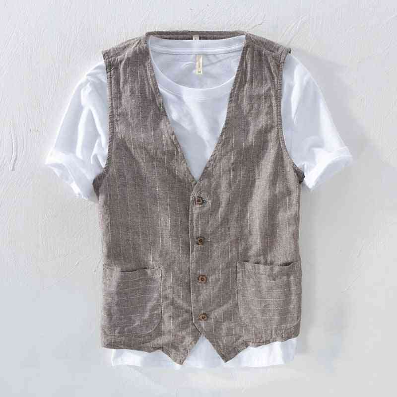 Mens Linen Suit Vest Slim Fit Striped V-neck Waistcoat With Pockets