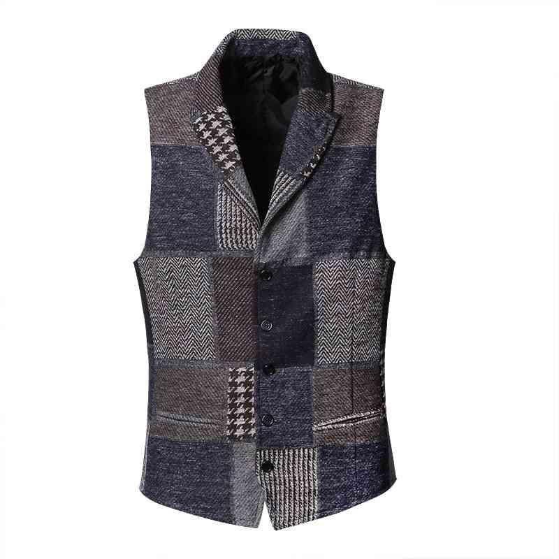 Spring Stitching- Retro Patch Plaid, Woolen Casual, Slim Waistcoat