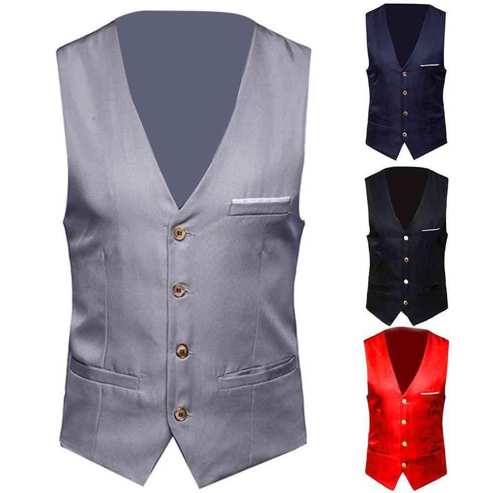 Dress Vests, Slim Fits, Suit Male Waistcoat, Casual Sleeveless