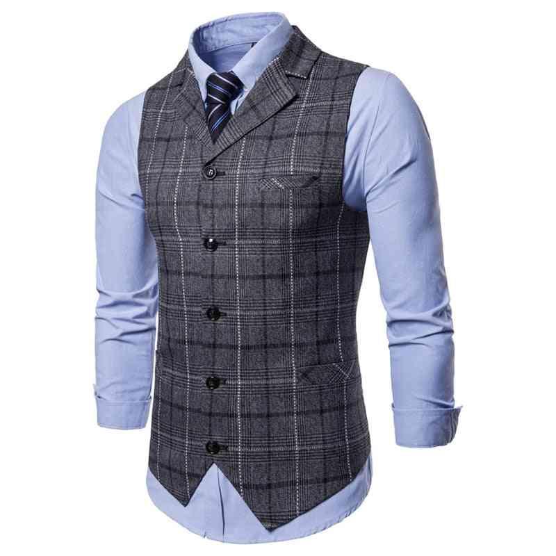 Mens Casual Vest, Lattice Waistcoat, Sleeveless Smart Top