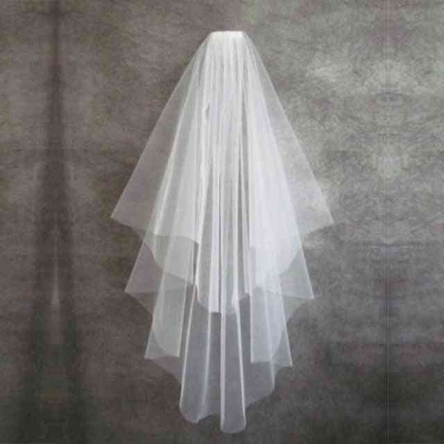 Short Wedding, Veil With Comb Cut, Edge 2-layers Accessories