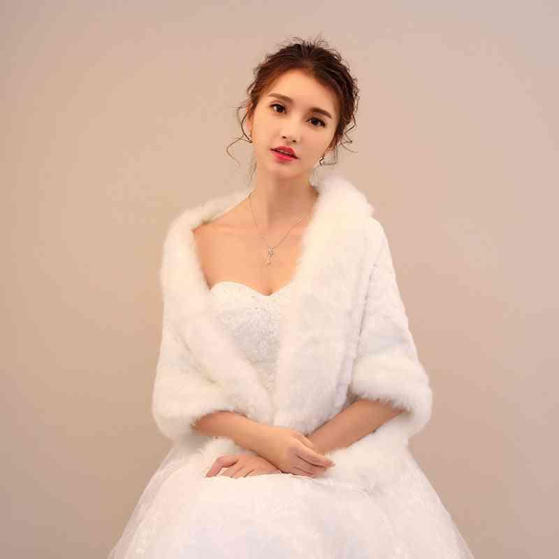 Winter Shawl Wraps Shrug, Cloak Cover-up, Wedding Jacket (ivory White M)