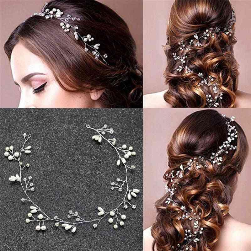 1pcs- Vintage Pearls Leaves, Wedding Bridal, Hair Headband