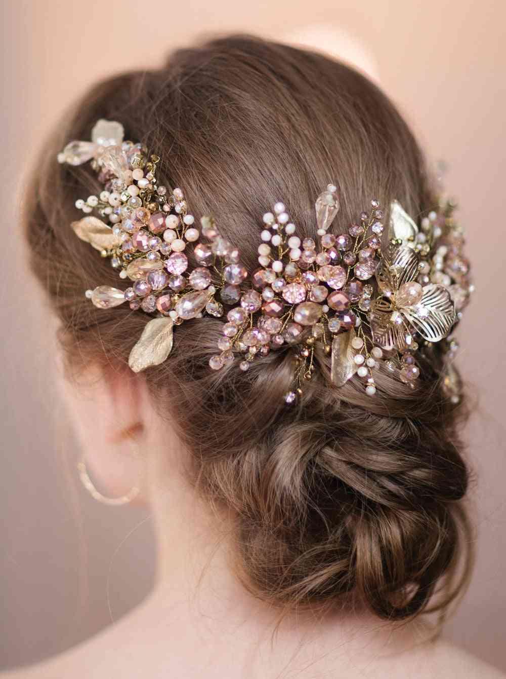 Bridal Gold Leaf Pearl Headband