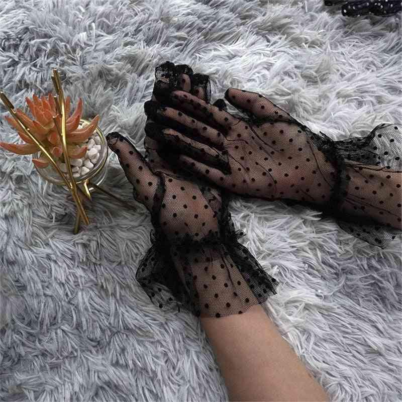 Women's Transparentes Dot Print Mesh Tulle Gloves