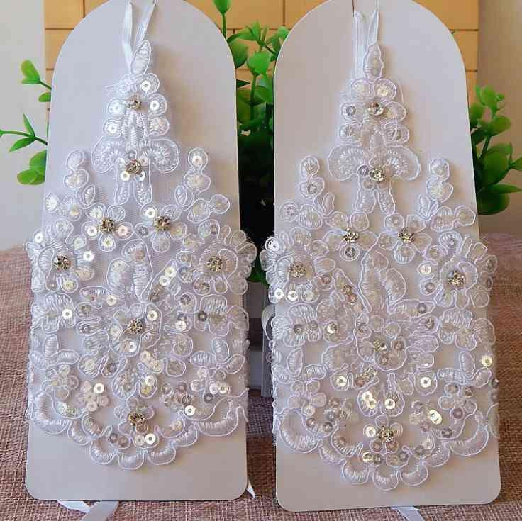 White Short Fingerless, Elegant Rhinestone, Wedding Gloves  (beige)