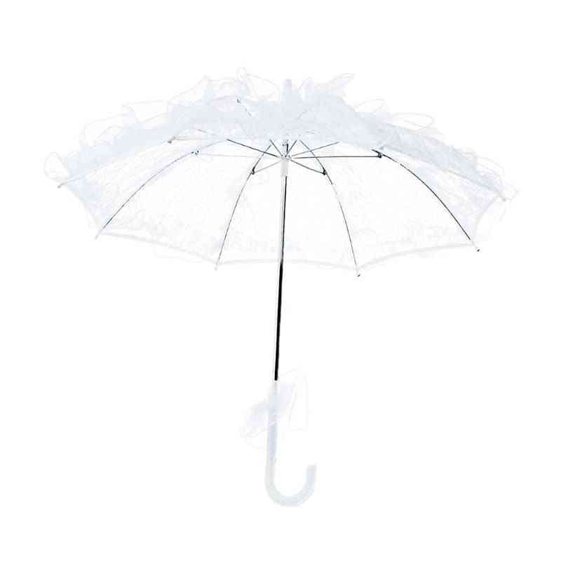 Women Western Style Hollow Umbrella, Manual Opening, Out Floral Lace For Bridal Wedding