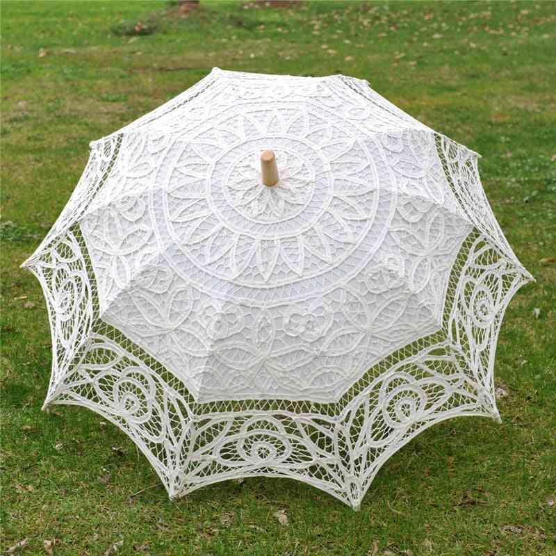 Bride Wedding Umbrella Handmade Embroidery Lace Parasol Scene Layout Interior Decoration