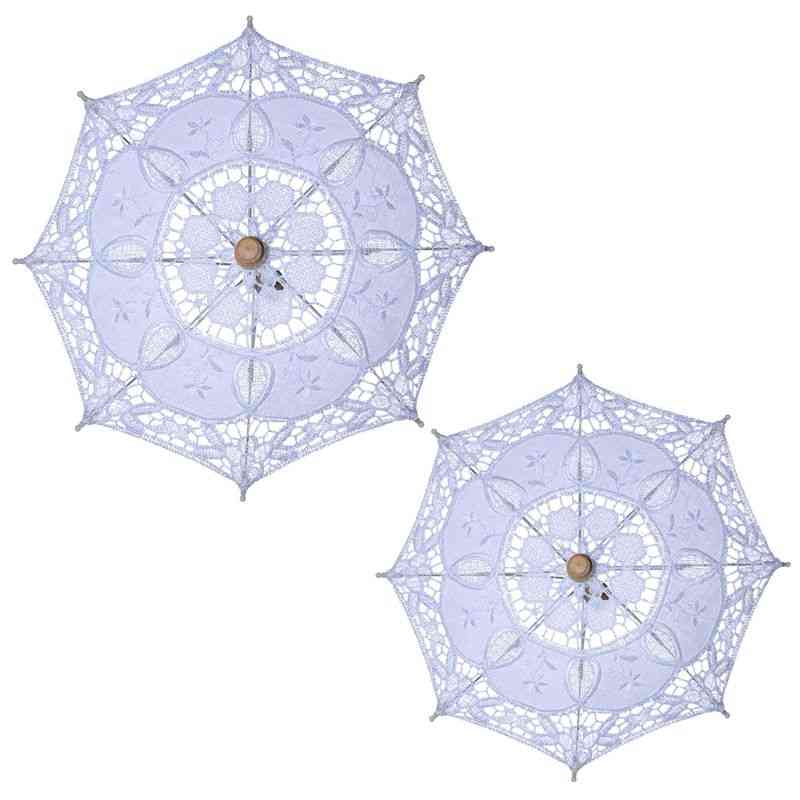 Manual Opening Umbrella, Hollow Out Embroidery Lace For Bridal Wedding