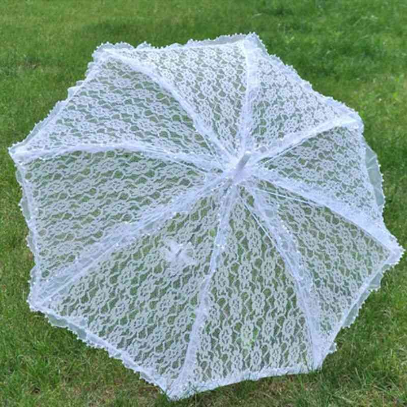 Simple Umbrella With Hollow Lace - Bride Photography Props