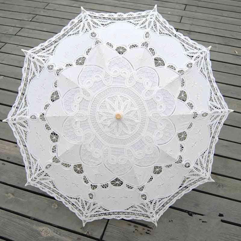 Fashion Sun Umbrella, Cotton Embroidery, Ivory Lace For Bridal Wedding