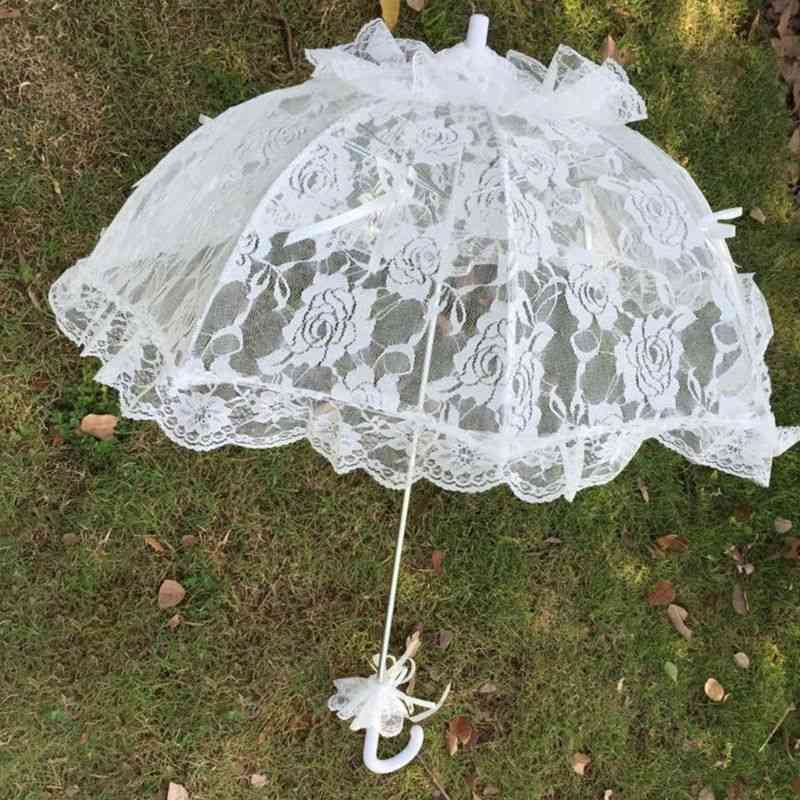 Hollow Lace Umbrella With Long Handle For Bridal Wedding Photo Props