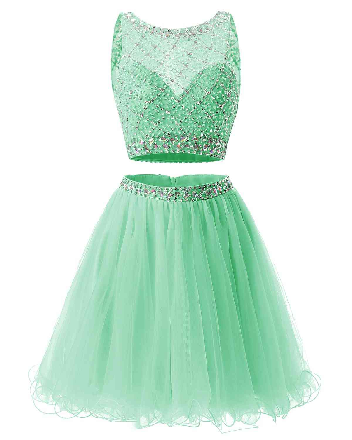 Two Pieces Tulle Party Wear Cocktail Dresses For