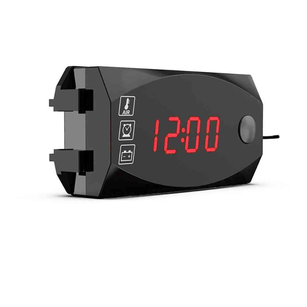3 In 1 Digital Led Display Meters, Voltmeter Clock, Thermometer Indicator Gauge For Car, Motorcycle