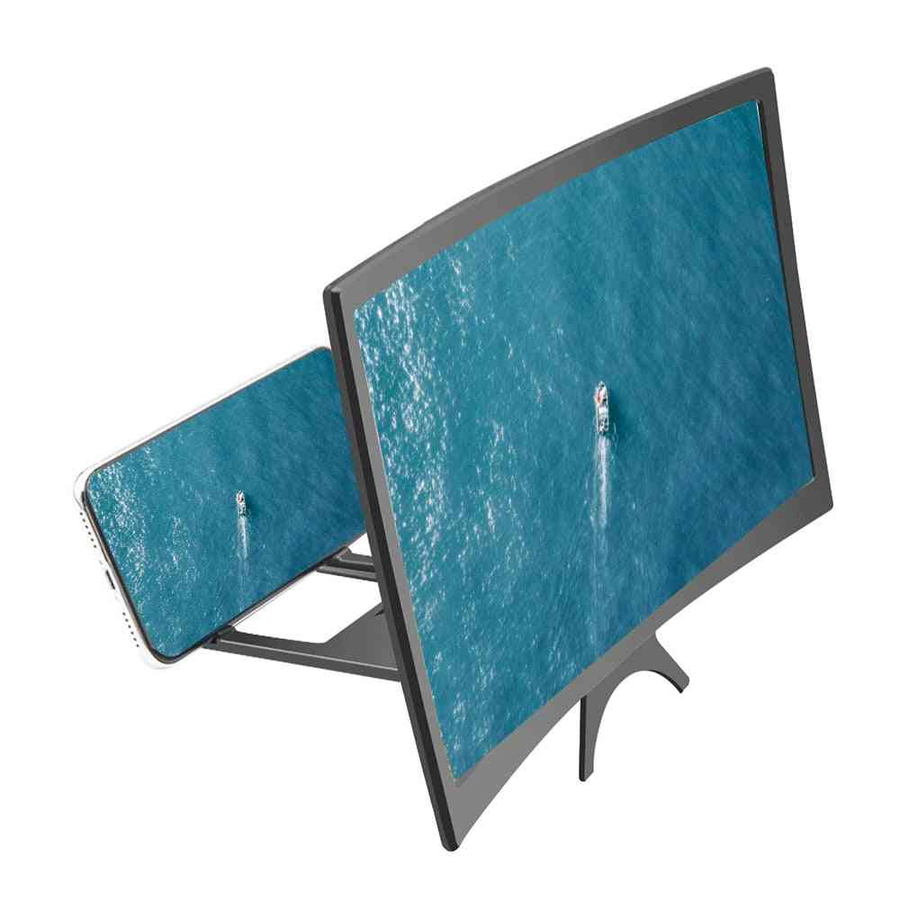 Hd Mobile Phone Curved Screen Amplifier - 3d Video Magnifying With Stand Holder