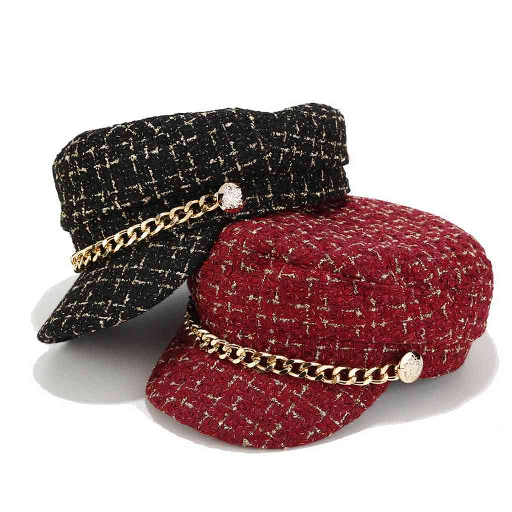 Military  Bonnet Hat Embellished With Solid Chain