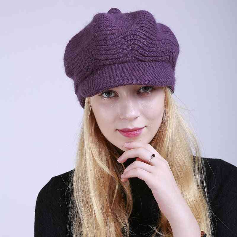 Merino Wool Winter Hats, Visor Beret Cold Weather Knitted Caps