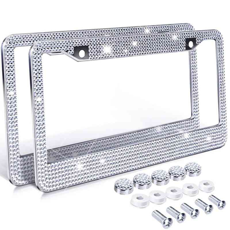 Bling Crystal- License Car, Frame Plate With Ignition Button