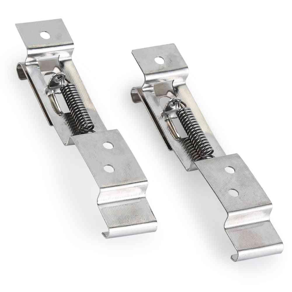 1 Pair- Stainless Steel, Car License Plate, Frame Holder Clips, Spring Bracket