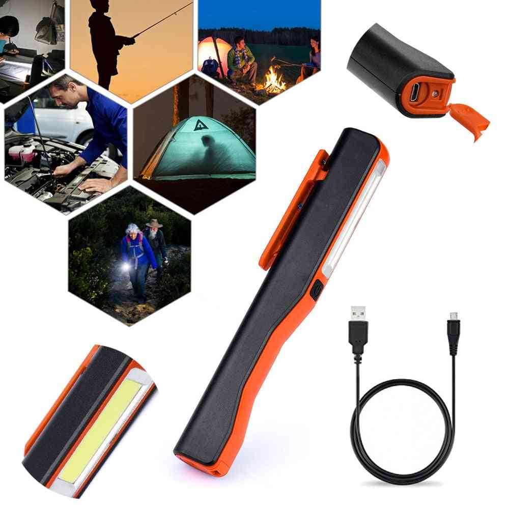 Cob Led Camping Work Inspection Light / Lamp, Usb Rechargeable Hand Torch