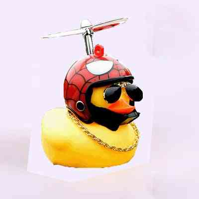 Cute Little Yellow Duck With Helmet Propeller-squeeze Toy For Car Decore