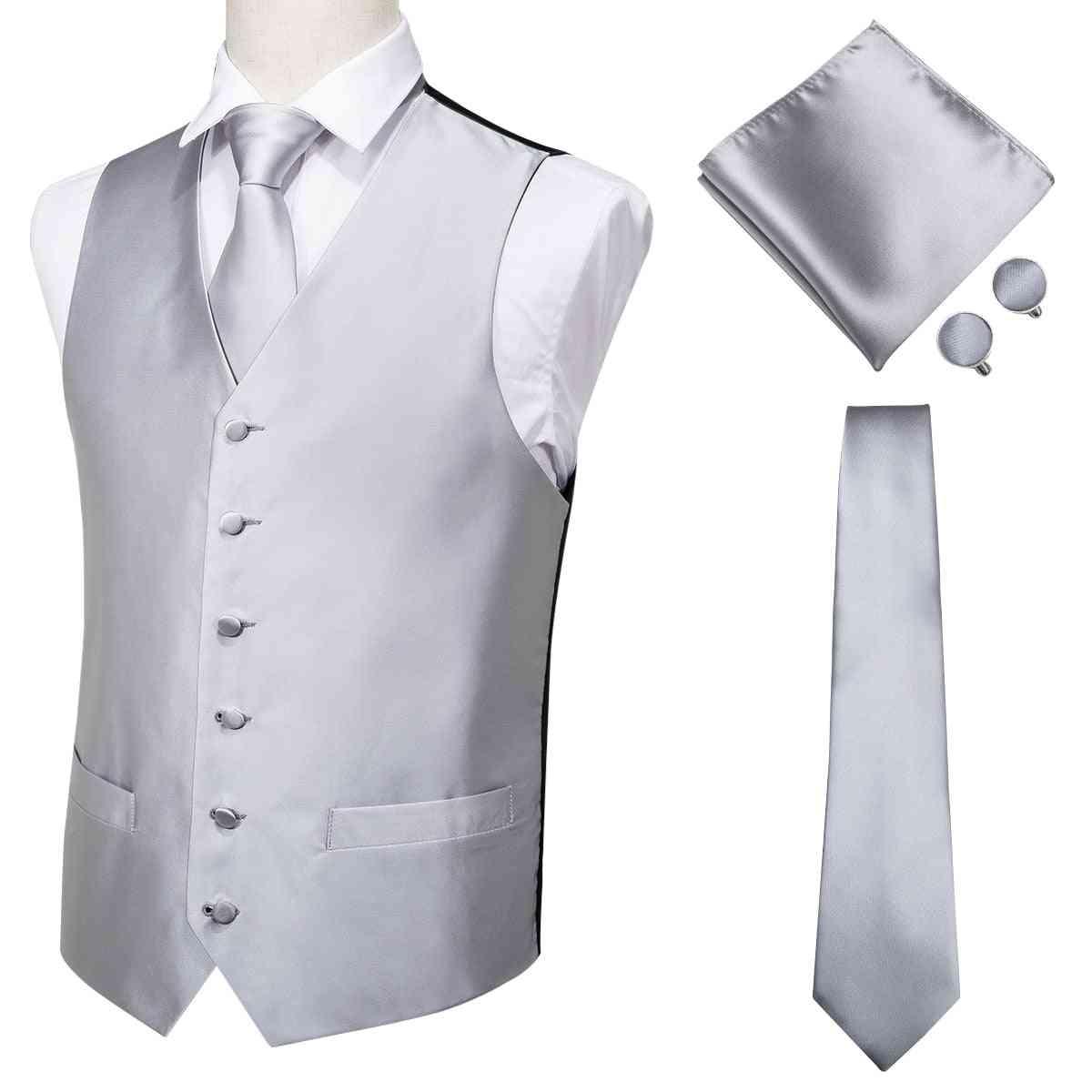 Men's- Classic Silk Waistcoat, Handkerchief Wedding, Tie-vest, Suit Set
