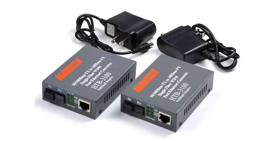 Media Converter Htb-3100 Fiber Optical Single Mode, Sc Port 20km External