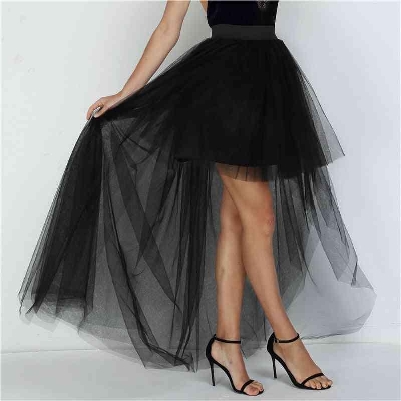 High Waist Irregular Tulle Skirt, Fashion Long Gown For Woman