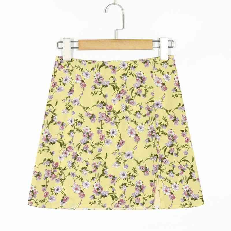 Thin Waist Leg, Long Flower, Side-split, Skirts Short