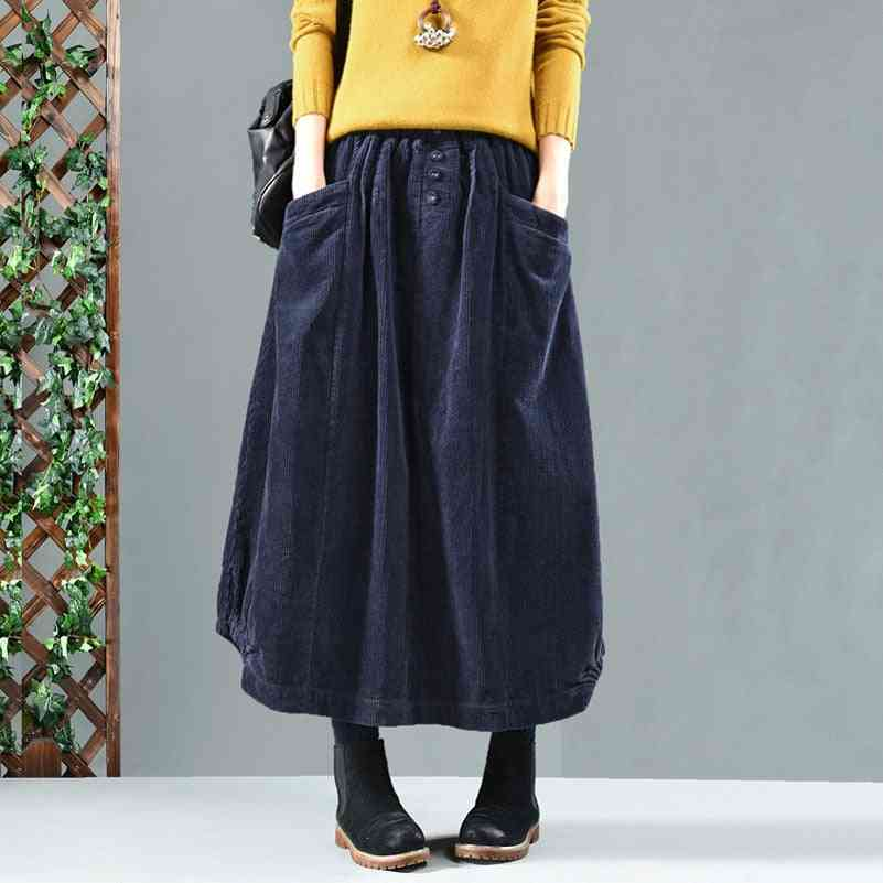 Vintage Women Elastic Waist Winter Corduroy Loose Pocket Skirt